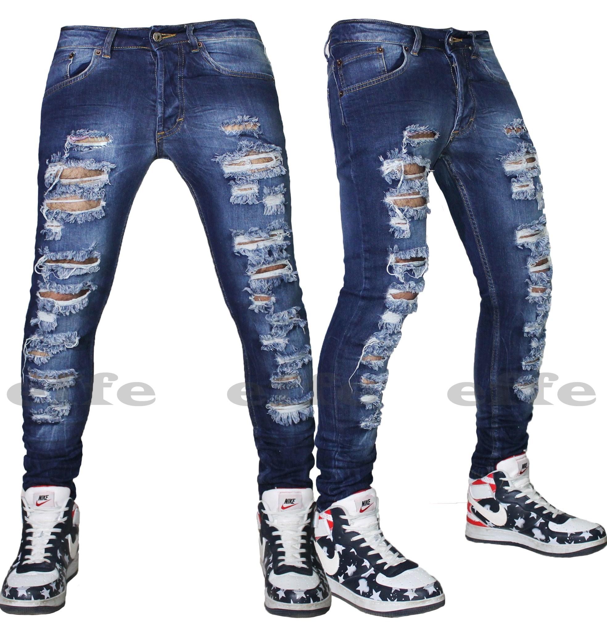 Jeans uomo Strappati sfilacciati DENIM blu slim elasticizzato stretti vita bassa | eBay
