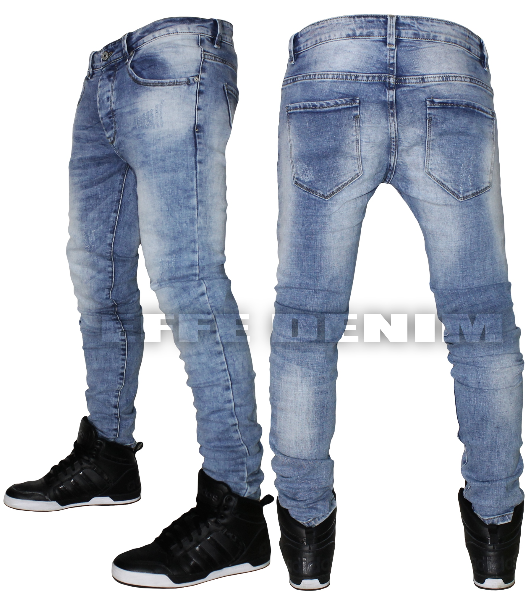 men 39 s jeans denim blue sky slim trousers elasticated low. Black Bedroom Furniture Sets. Home Design Ideas