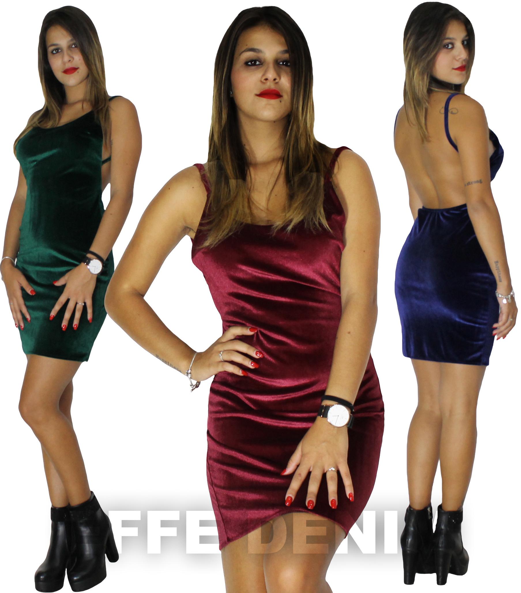 Vestito Donna Velluto Abito Tubino Scollato Schiena Nuda Miniabito ... ce297172600