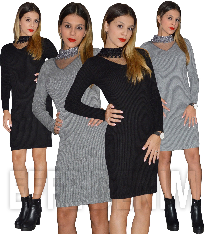 2f66b45712c5e Abito Donna Pullover Collo Perlato Aderente Maglia Coste Lana Manica ...