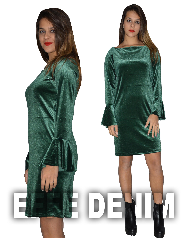 da5e82427b9f Vestito Donna Velluto Abito Manica Lunga Miniabito ciniglia ...