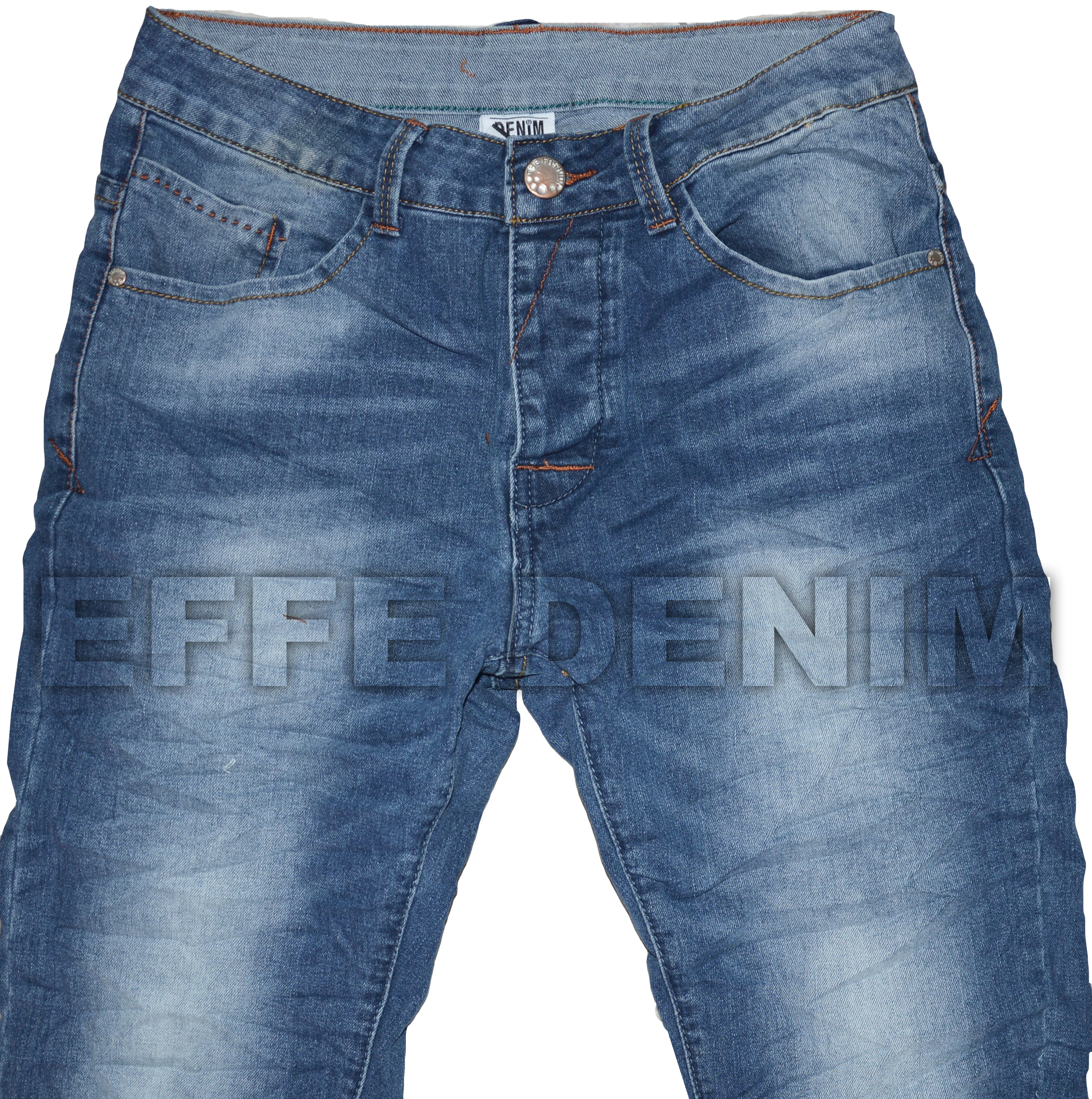 Jeans Uomo Denim Slim Pantaloni Chiari 5 Tasche Blu Nuovo Elasticizzato art 2018