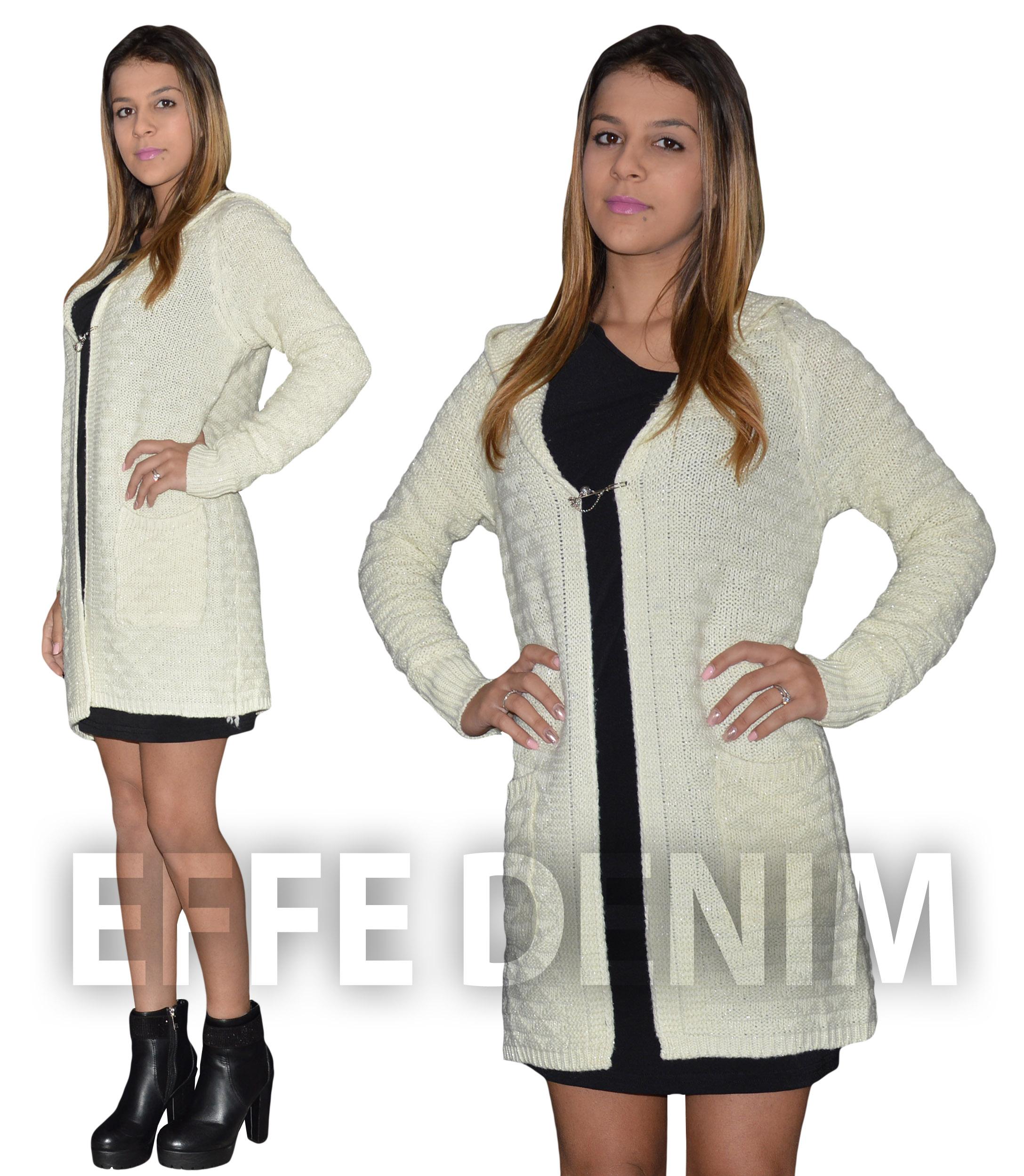 9dcdc2b43901 Maxi Cardigan Donna Maglione Pullover Lurex Cappuccio Lana Vestito ...