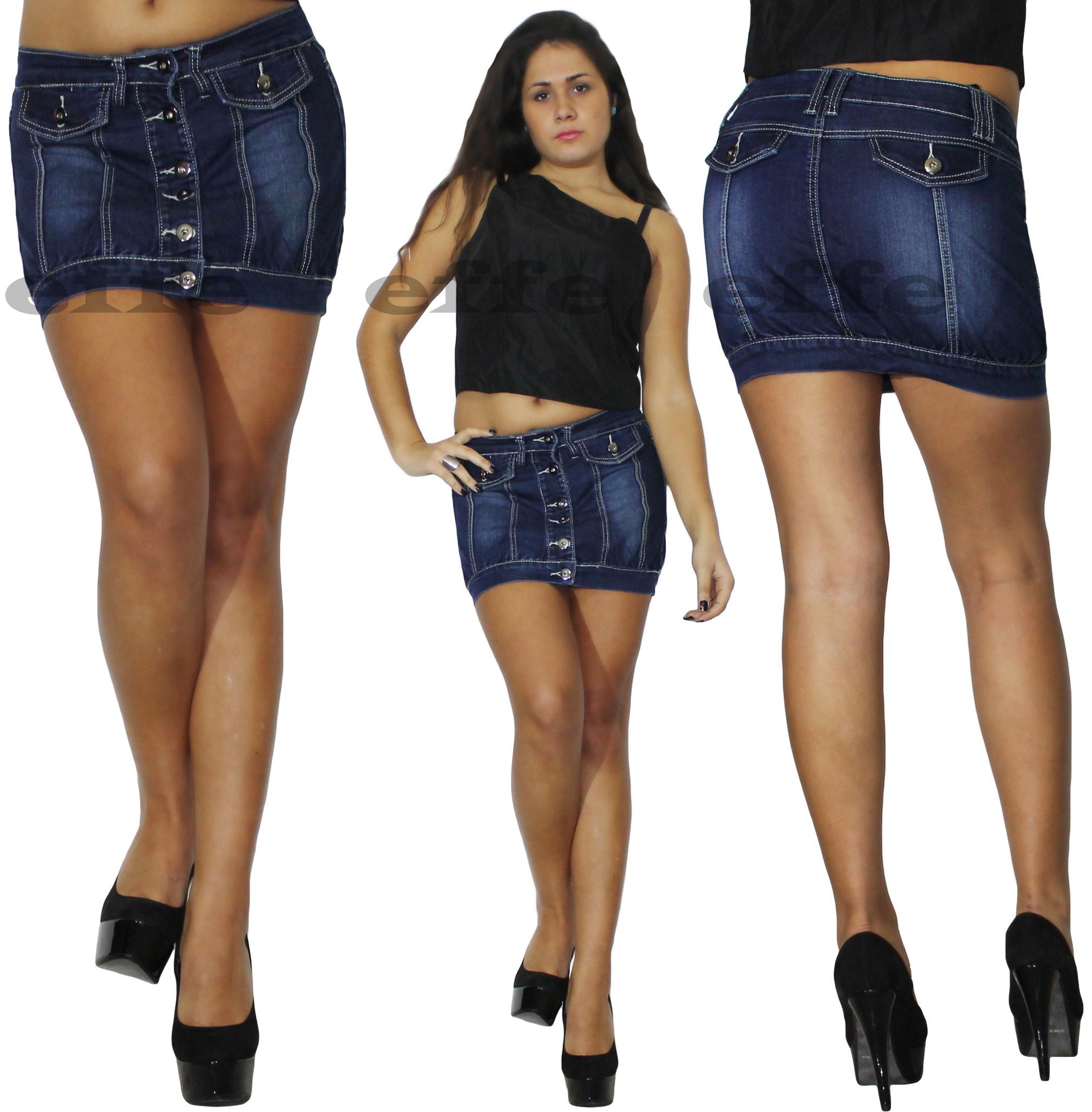 check out 873e7 f768a Details about Minigonna donna jeans Denim tulipano gonna elasticizzata sexy  nuova