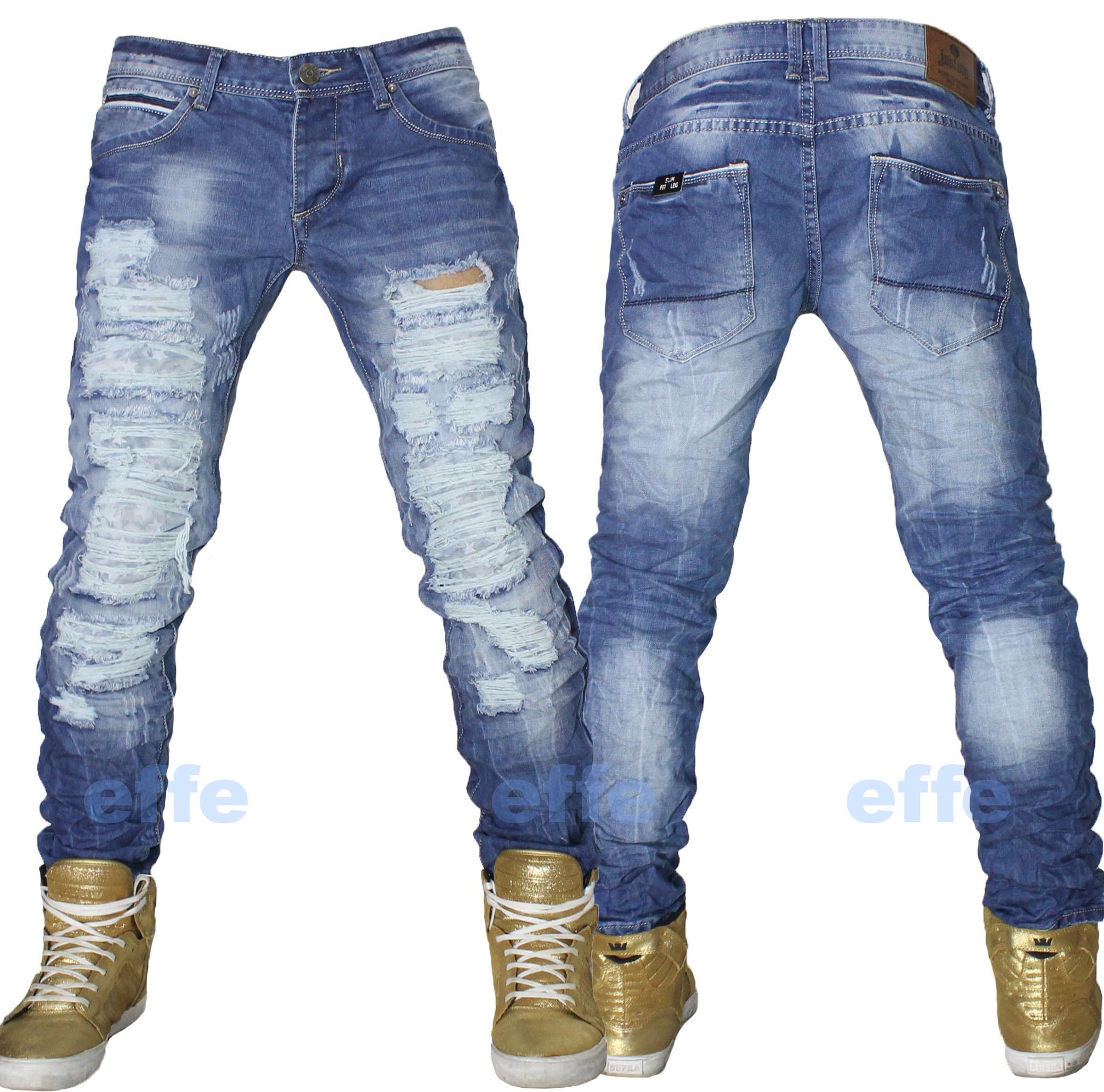 selezione migliore 53e87 910b7 Dettagli su Jeans uomo Strappati pantaloni sfilacciati DENIM slim fit leg  regular nuovo
