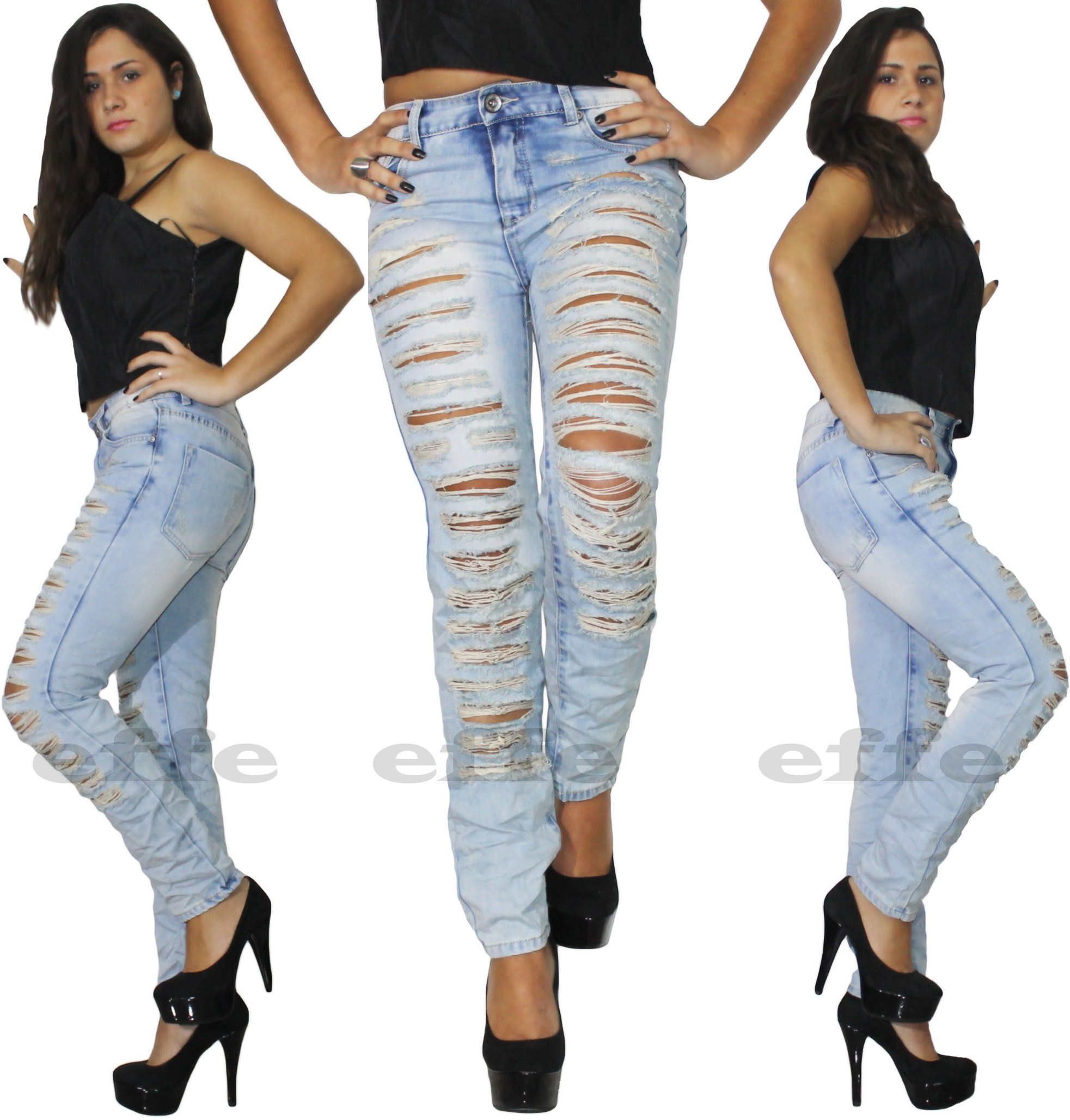 Per nome Dimostrare tradimento  Jeans donna strappati vita alta Denim skinny slim colore cielo strappi  nuovo   eBay