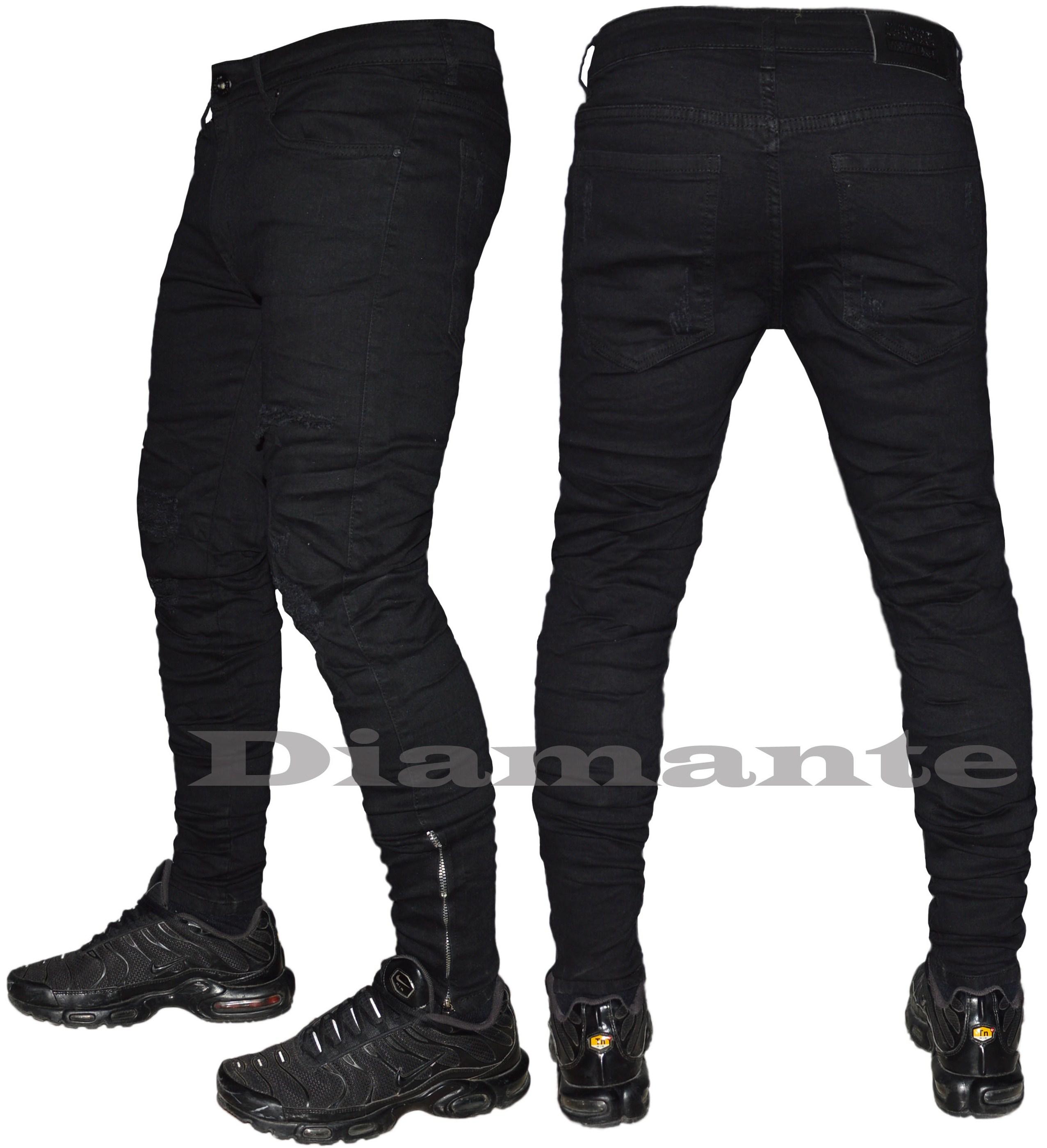 Jeans uomo strappati nero foderati slim pantaloni elasticizzati WE1220