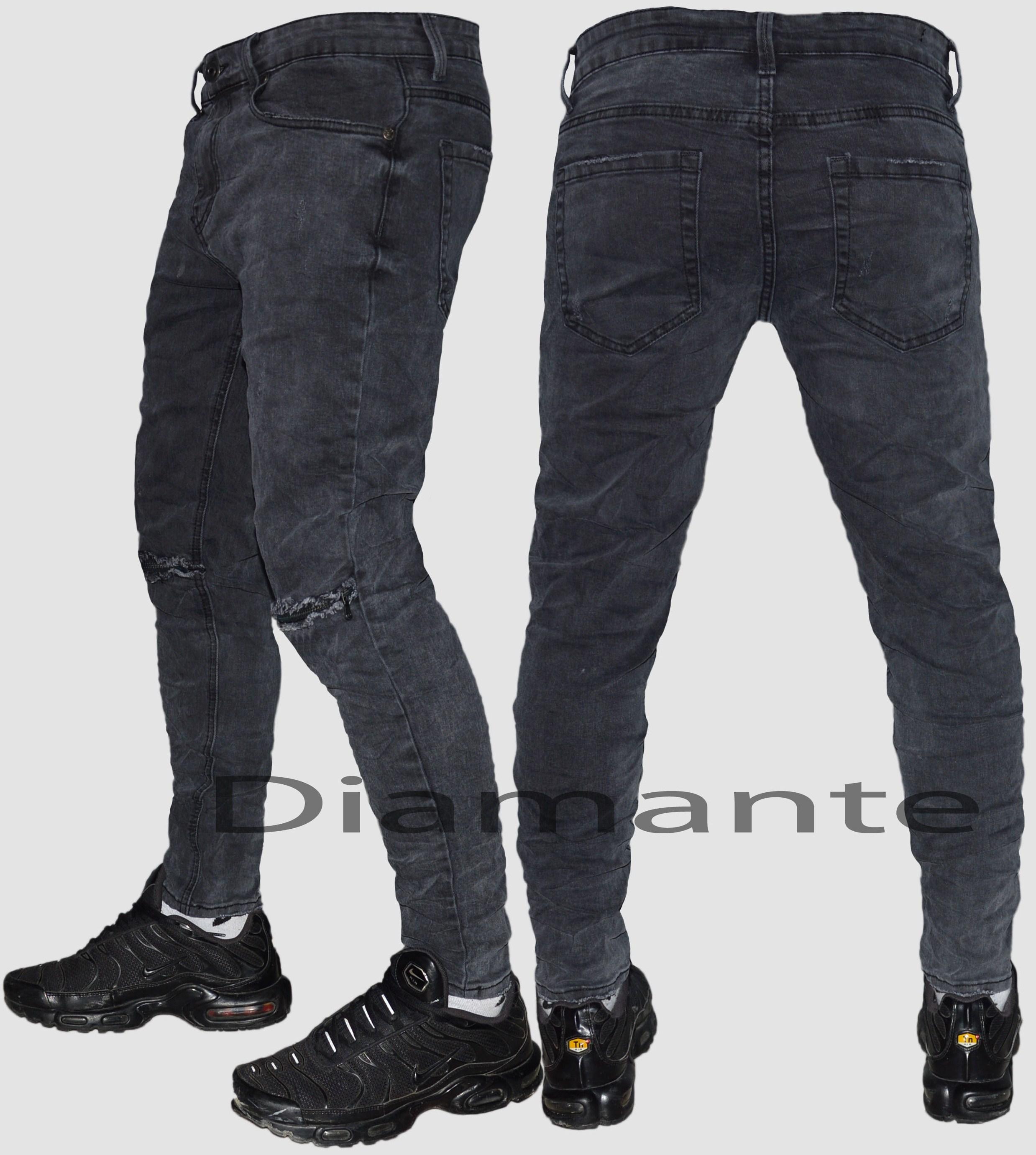 Dettagli su Jeans uomo Denim strappati zip grigio scuro slim pantaloni elasticizzati 78180