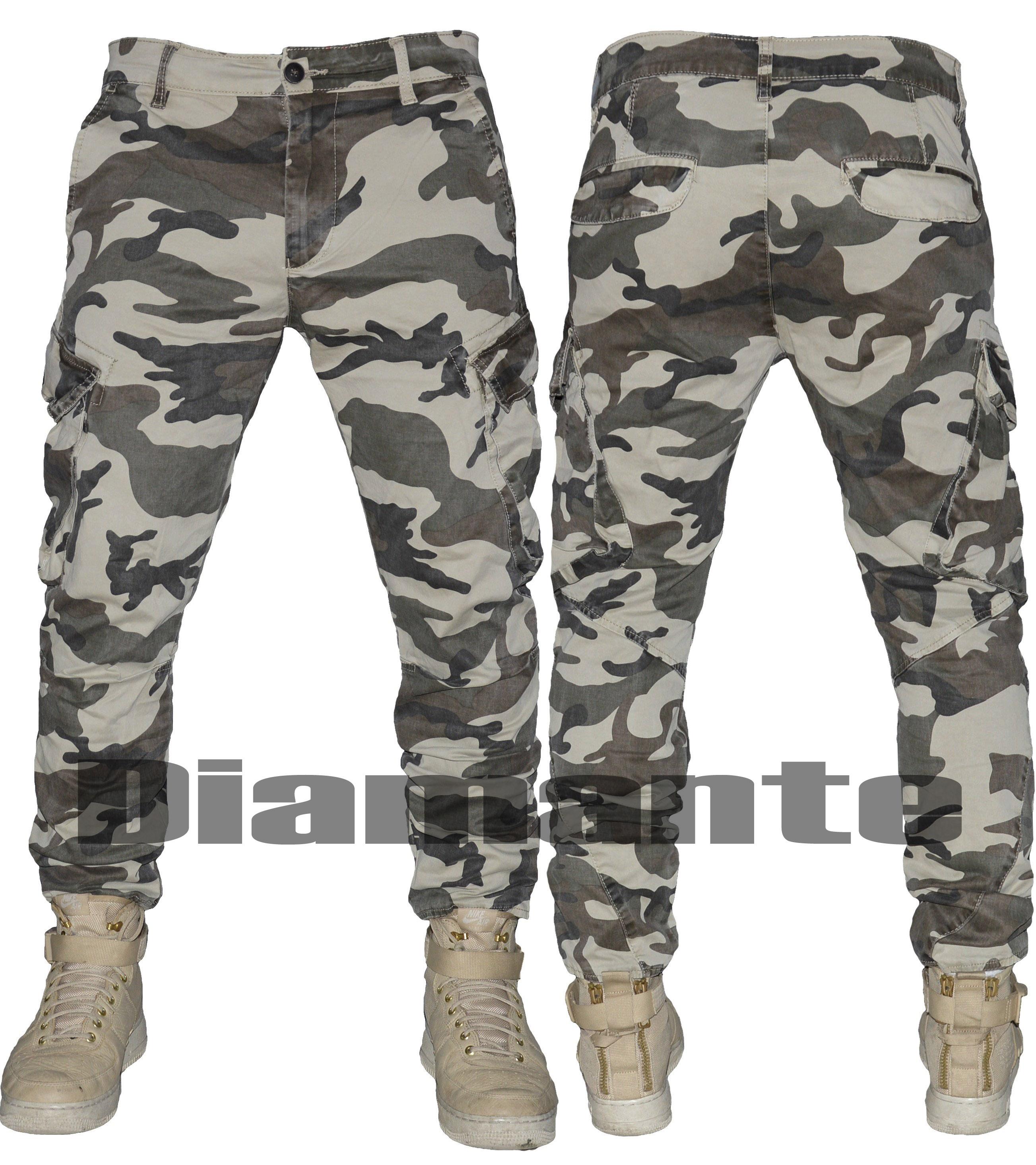 Pantalone uomo mimetico militare Cargo tasconi elasticizzato ... b79a0d4149c1
