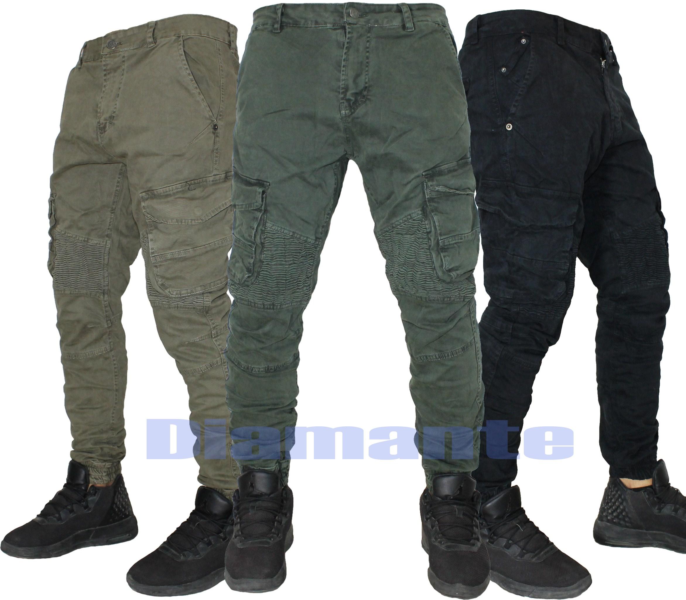Pantaloni uomo Cargo Biker Tasconi slim elasticizzati nuovo WW-5229
