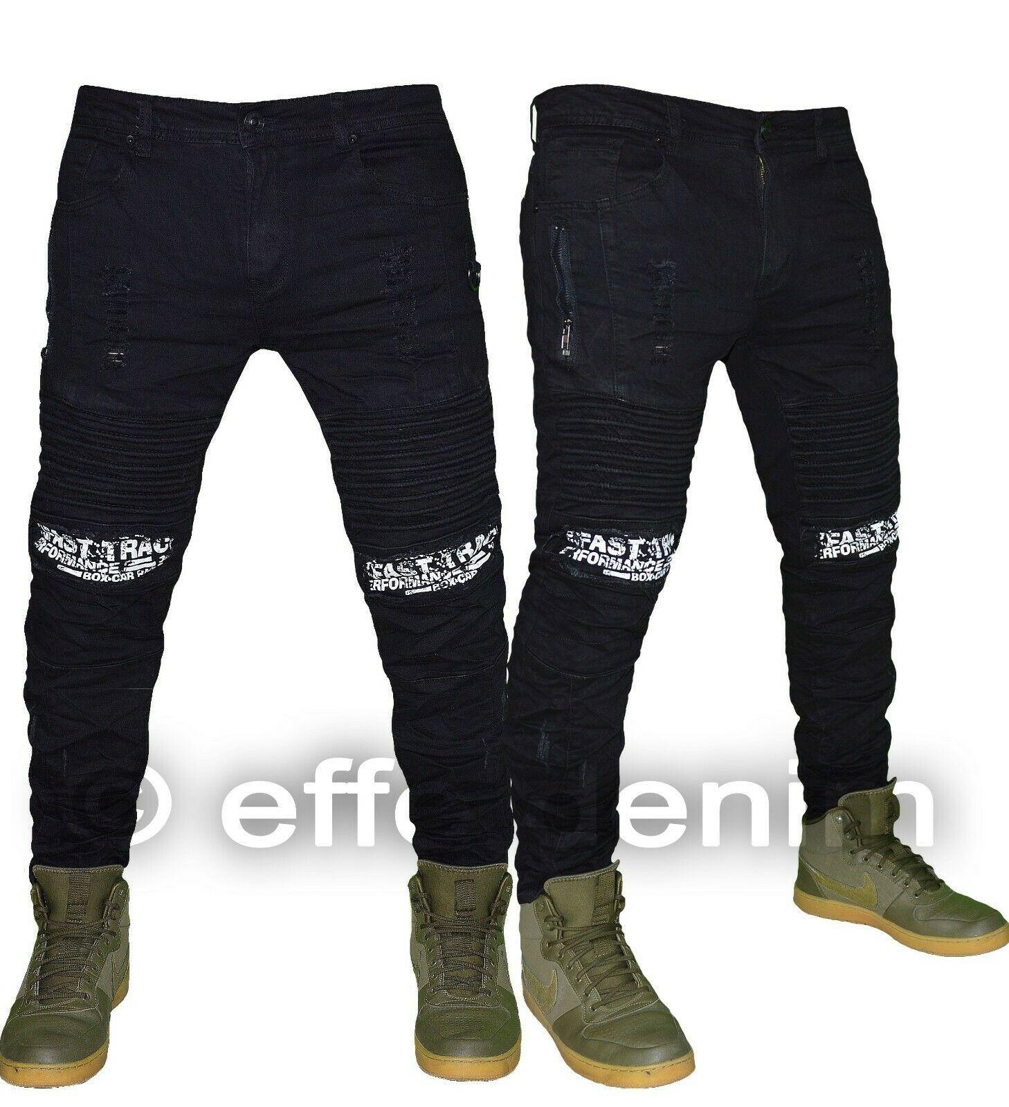 Jeans uomo Denim biker nero strappi pantaloni design scritte elasticizzati 6899