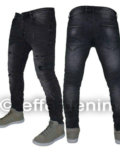 Jeans-uomo-Denim-nero-strappi-slim-fit-pantaloni-elasticizzati-nuovo-9004-254386785710-2