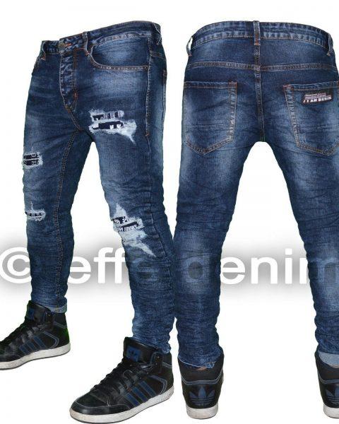 Jeans-uomo-Denim-strappati-scritte-slim-fit-pantaloni-Blu-elasticizzati-1395-264495224471-2