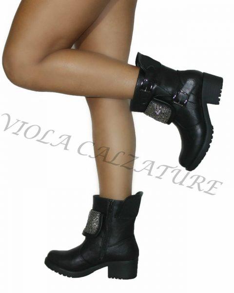 Stivali-Stivaletti-Donna-Biker-Boots-con-Risvolto-in-Borchie-n40-art-Q-33-264383132531-2