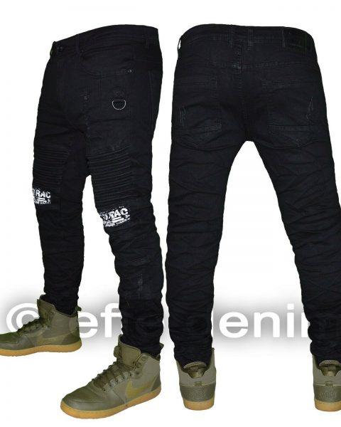 Jeans-uomo-Denim-biker-nero-strappi-pantaloni-design-scritte-elasticizzati-6899-254379766942-2