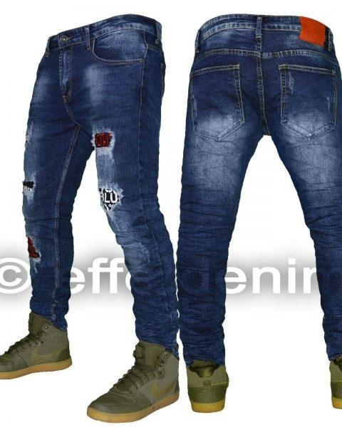 Jeans-uomo-Denim-pantaloni-slim-strappi-design-scritte-elasticizzati-toppe-3950-254379748854-2
