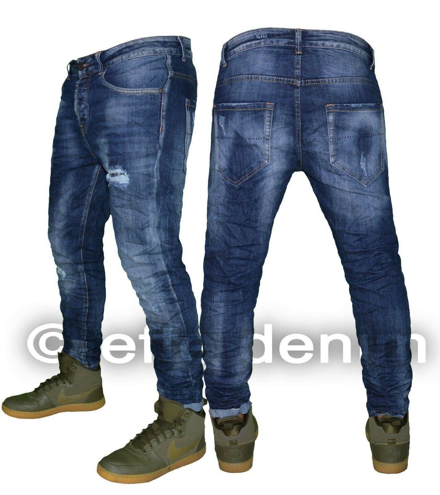 Jeans uomo Denim strappati slim fit pantaloni Blu elasticizzati nuovo 1390