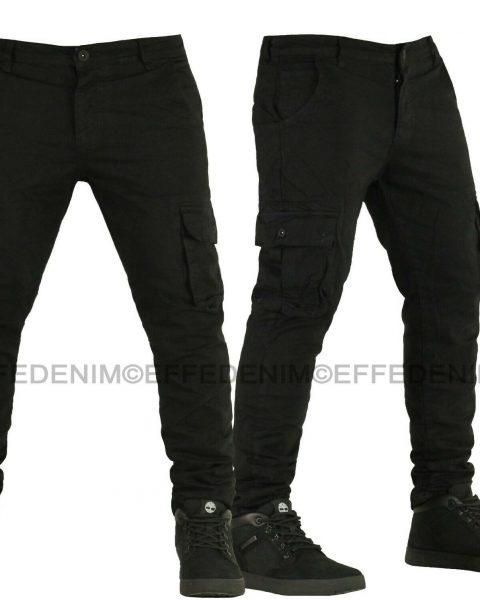 Pantaloni-Uomo-Cargo-EFFEDENIM-Jeans-nero-Tasconi-Slim-Elasticizzati-Multitasche-254458230809-2